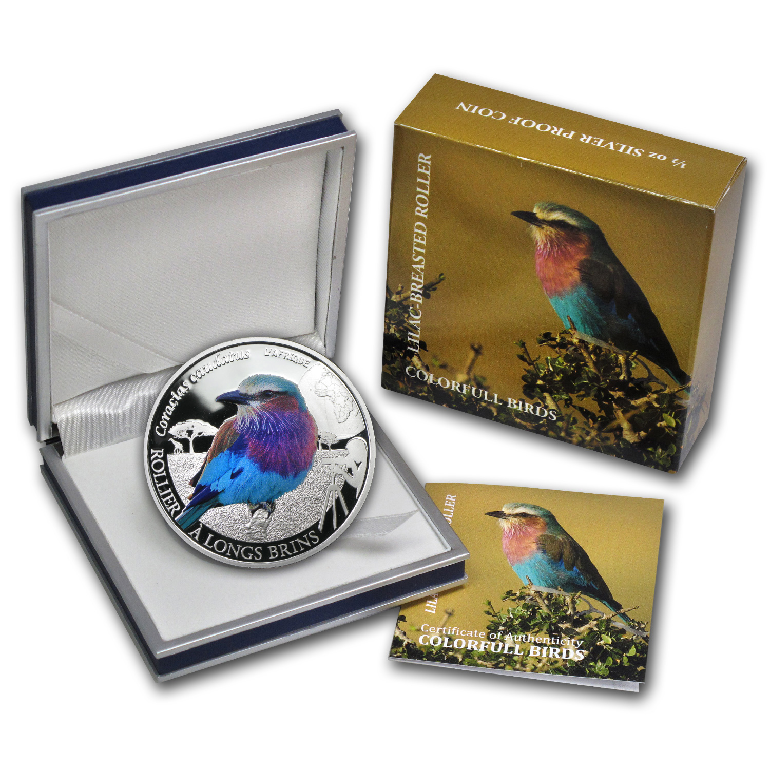 2013 Burkina 1/2 oz Silver Colorful Birds Lilac-Breasted Roller